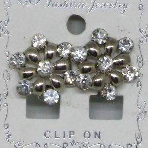 Earrings Clear Crystal Rhinestone Clip-On 1069